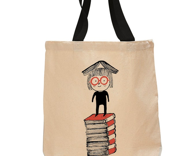 Little Girl Reading-Cotton Canvas Tote Bag
