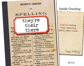 They're, their, there. Grammar themed birthday card.