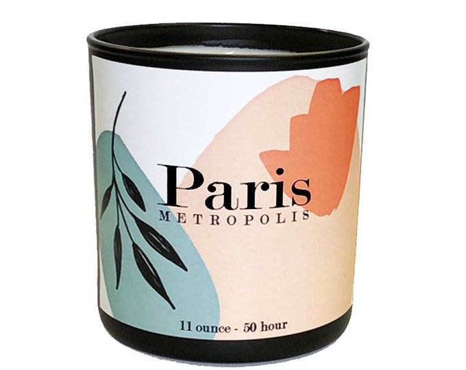 Paris -11oz  Luxe Soy Candle -Metropolis Collection - Mint, Nutmeg & Citrus Fragrance - Bon Voyage - Travel  - Avant Garde - Bougie - France