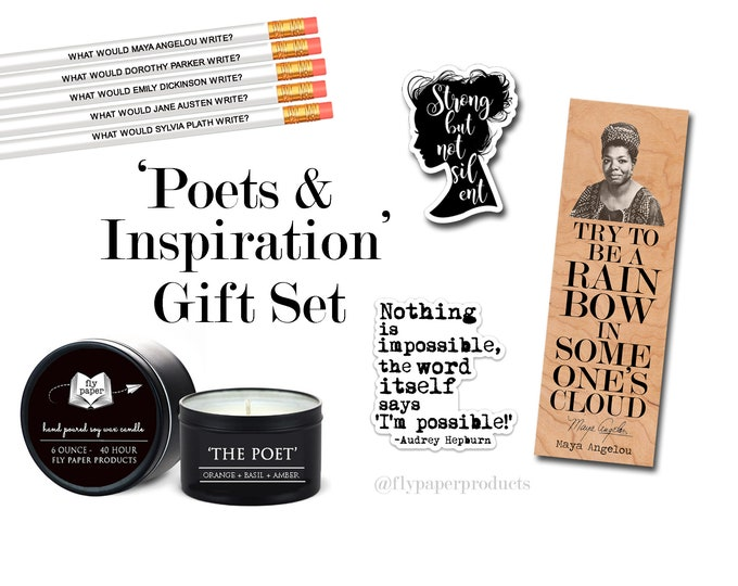 The Ultimate Poets & Inspiration Gift Set - Poetry - Poetry Lover - Literary Gift Box - Maya Angelou- Audrey Hepburn- Gift for Poetry Lover