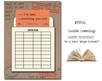 I've been checking you out! Book Themed Birthday Card with a Vintage Book Card and Library Pouch.