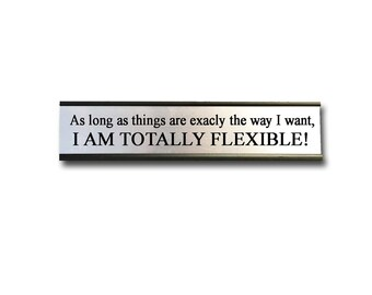 As long as things are exactly the way I want, I am Totally Flexible!- Desk Top Name Plate Office Flair