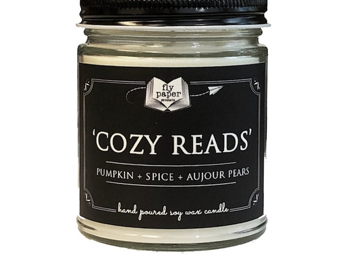 Cozy Reads- 9oz Handpoured Soy Candle - Pumpkin + Spice + Aujour Pears - Book Lover Candle - Literary Candle - Book Inspired - Automn Scent