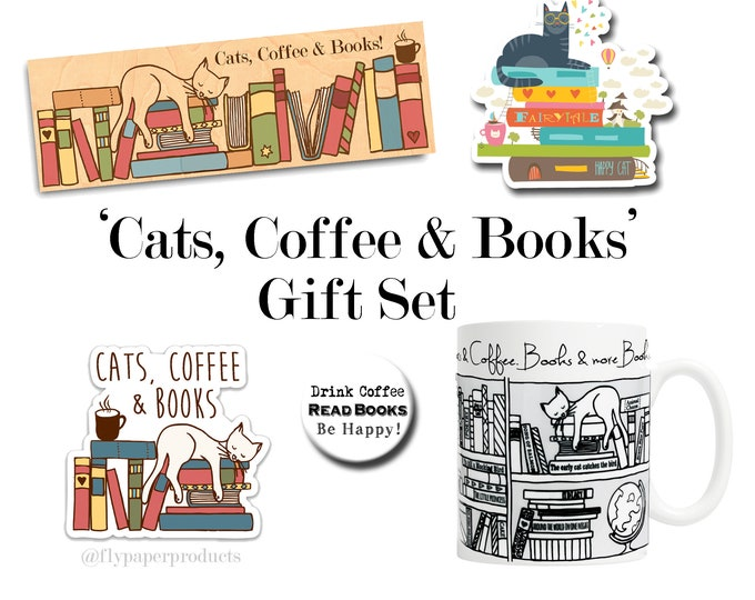 The Ultimate Cats, Coffee & Books Gift Set - Gifts for Cat Lovers - Gifts for Coffee Lovers - Book Lovers - Literary Gifts - Literature