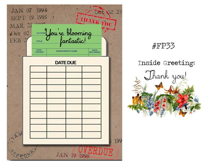 You're blooming fantastic! Book Themed Thank You Card with a Vintage Book Card and Library Pouch.