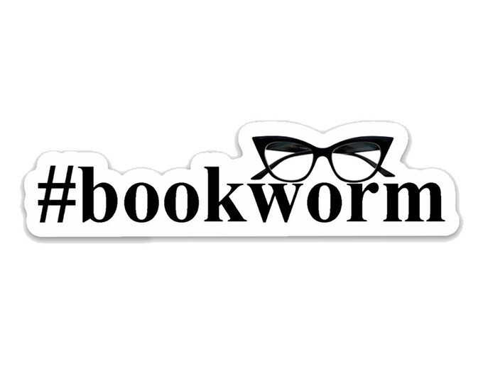 "Bookworm-  3"" vinyl Sticker - Laptop Decal - Water Bottle Sticker - Book Lover Gift - Literary - Literature - Gifts for Readers"