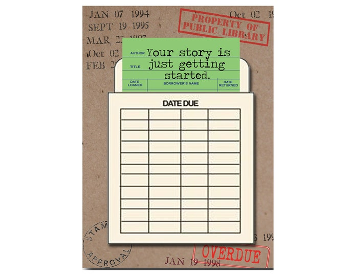 Your story is just getting started. Book Themed Card with a Vintage Book Card and Library Pouch.