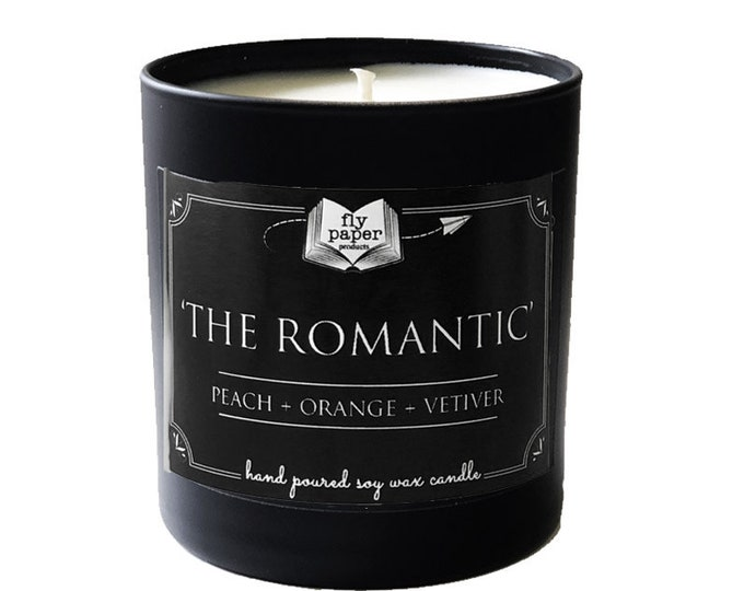 The Romantic -11oz Handpoured Soy Candle- Peach + Orange + Vetiver - Book Lover Candle - Literary Candle - Romance Novel