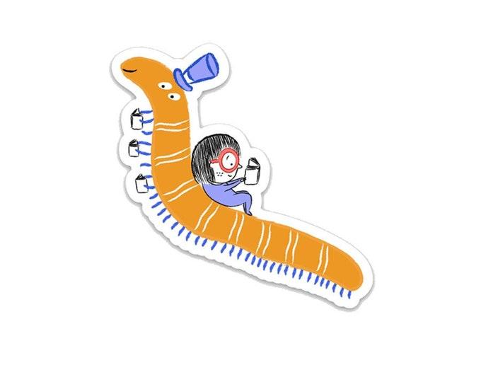 """Bookworms make the best friends! 3"""" vinyl Sticker"""
