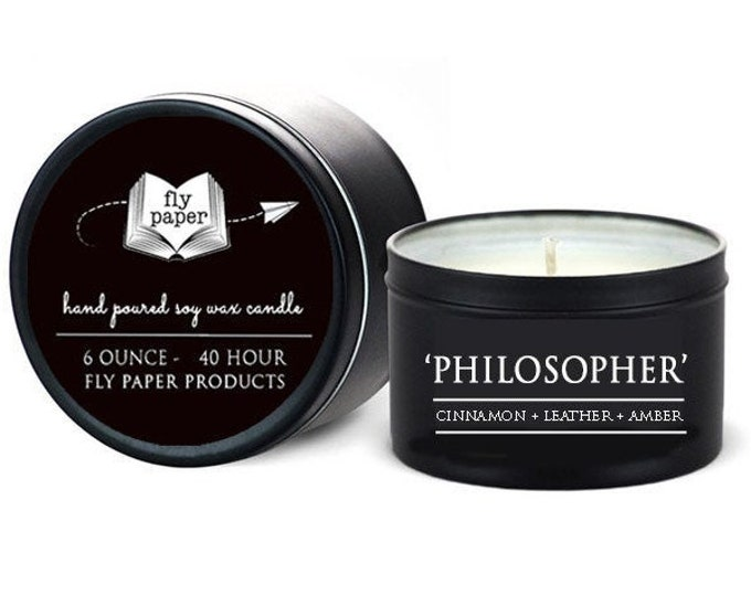 The Philosopher - 6oz Travel Tin Handpoured Soy -Cinnamon+ Leather + Amber - Book Lover Candle - Literary Candle - Book Inspired