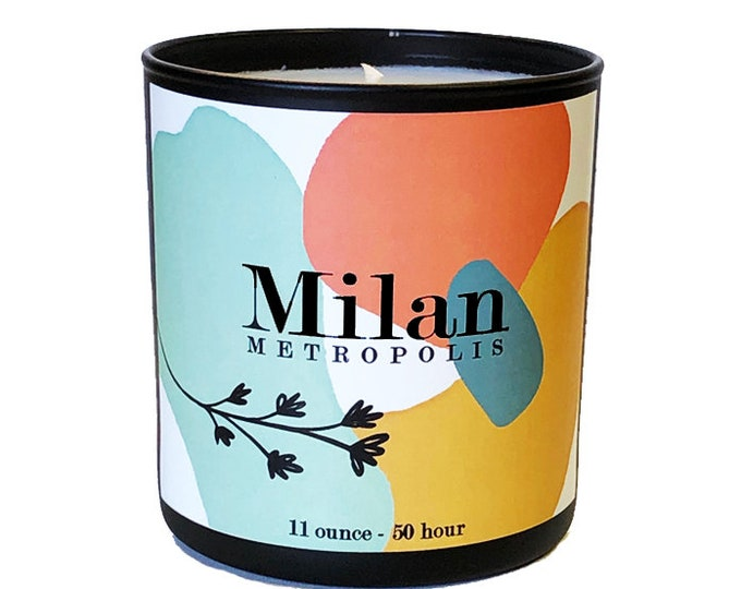 Milan -11oz  Luxe Soy Candle -Metropolis Collection - Citrus, Juniper,Woodsy Fragrance - Bon Voyage - Travel - Avant Garde - Italy - Italian