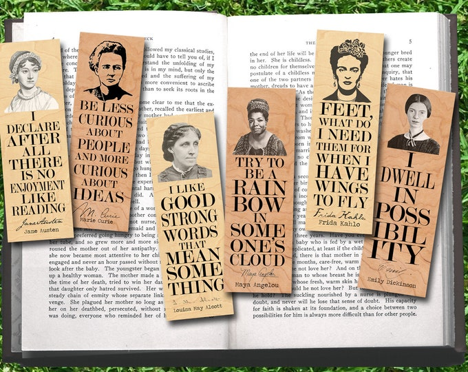 Set of 6 Famous Female Bookmark Set- Wood Bookmark - Eco Friendly - Literary Gift - Gifts for Book Lovers - Classic Literature- Author
