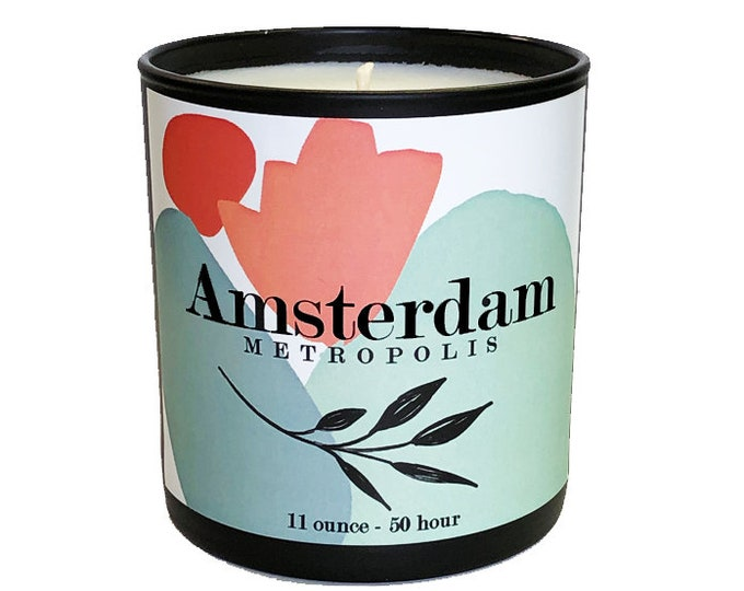 Amsterdam -11oz  Luxe Soy Candle -Metropolis Collection - Lavender, Lemon & Jasmine Fragrance - Voyage - Travel  - Avant Garde - Art