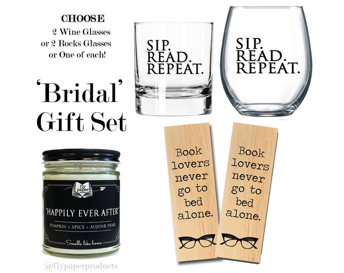 Bridal Gift Set - Wedding Gift- Book lover Gift Set- Anniversay Gift- Engagment Gift- Bride and Groom Gift - Bookish Gift- Book love -Reader