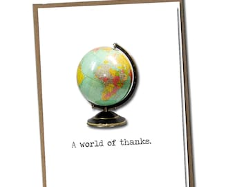 A world of thanks. Classic Linen Series Greeting Card- Blank Inside