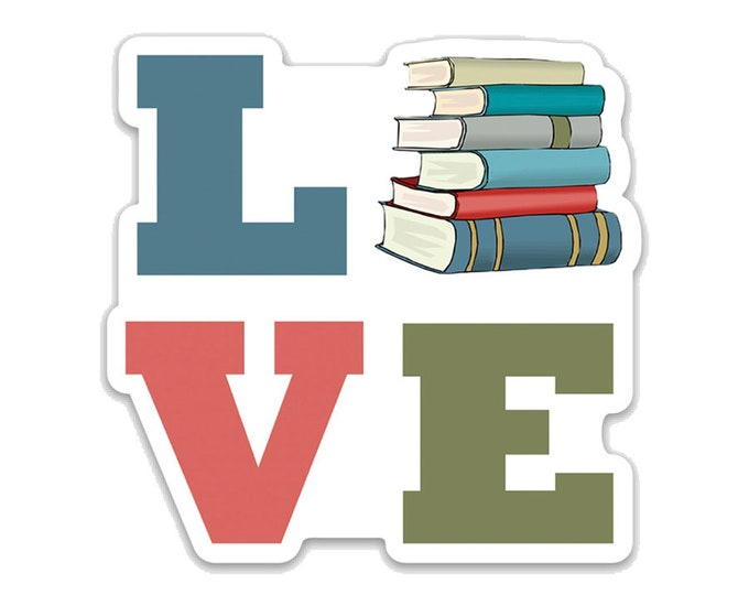 "Love Books- 3"" vinyl Sticker Laptop Decal - Water Bottle Sticker - Book Lover Gift - Literary - Literature - Gifts for Readers- Bookish Gift"