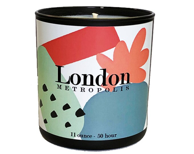 London -11oz  Luxe Soy Candle -Metropolis Collection - Amber, Balsam and fresh Spices. - Bon Voyage - Travel - Avant Garde - England