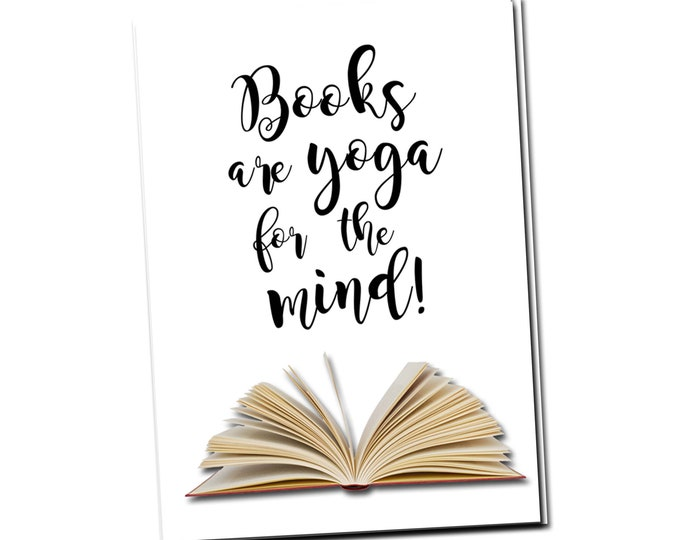 Books are Yoga for the Mind. Greeting card with vintage book card and library pocket.