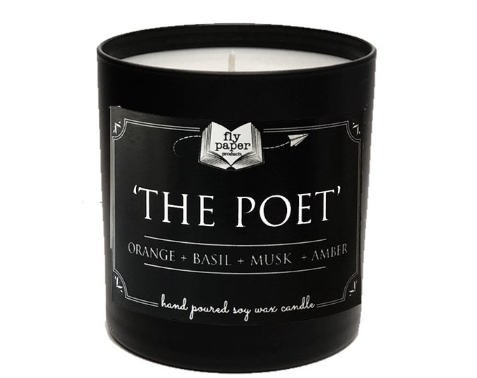 The Poet -11oz Handpoured Soy Candle - Orange + Basil + Amber - Literary Candle - Book Inspired - Boxed Candle - Luxury Poetry Candle