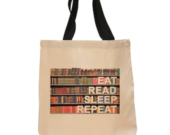Eat, Read, Sleep, Repeat -Cotton Canvas Tote Bag