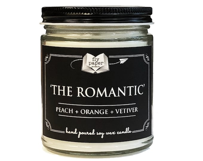 The Romantic - 9oz Handpoured Soy Candle - Peach + Orange + Vetiver - Book Lover Candle - Literary Candle - Book Inspired