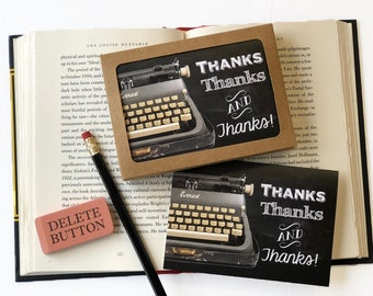 Thanks, thanks and thanks-vintage typewriter- Boxed Thank You Cards