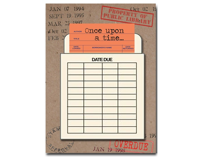 Once upon a time. Book Themed Birthday Card with a Vintage Book Card and Library Pouch.