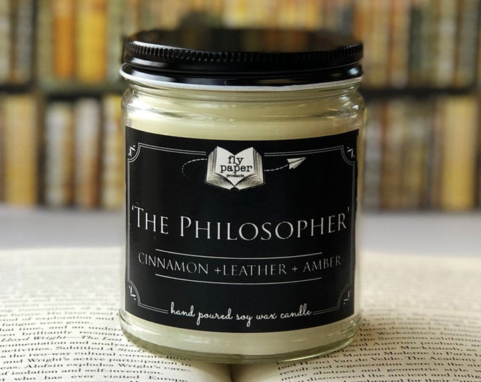 Philosopher- 9oz Handpoured Soy Candle- Cinnamon+ Leather + Amber - Book Lover Candle - Literary Candle - Book Inspired