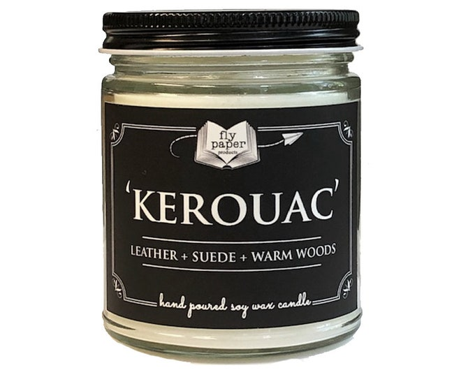 Kerouac - 9oz Handpoured Soy Candle - Leather + Suede + Warm Woods - Book Lover Candle - Literary Candle - Gifts for Men - Writer - Author