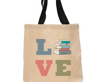 Love Books-Cotton Canvas Tote Bag