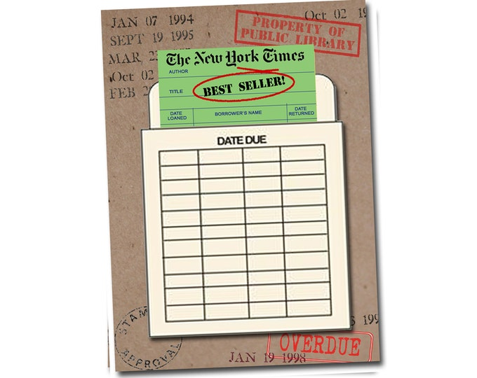 New York Times best seller! Book Themed Birthday Card with a Vintage Book Card and Library Pouch.