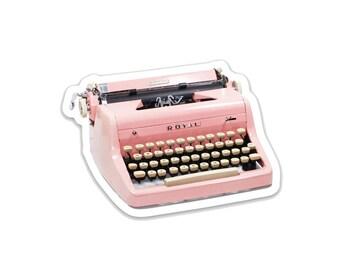 """Pink Typwriter- 3"""" vinyl Sticker"""