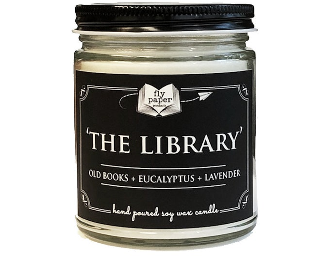 The Library - 9oz Handpoured Soy Candle - Old Books + Eucalyptus + Lavender - Book Lover Candle - Bibliophile Gifts - Old Book Fragrance