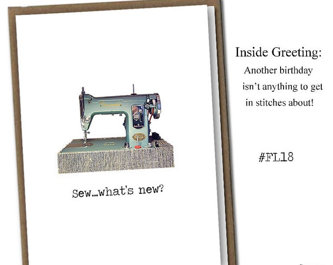 Sew...what's new? Classic Linen Series Greeting Card- Birthday Card