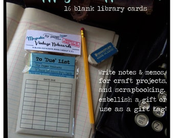 Magnetic Memo Vintage Library Book Cards
