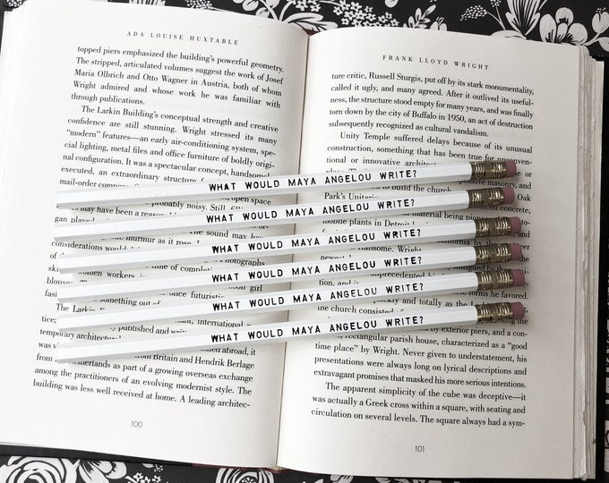 Set of 5 Maya Angelou Inspiration Pencils -Famous Female Author - White Pencil - Foil Pressed - Gift for Writer - Writing- Reading