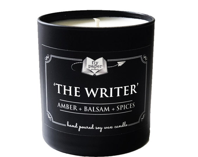 The Writer -11oz Handpoured Soy Candle -Amber + Balsam + Spices - Book Lover Candle - Literary Candle - Boxed Candle