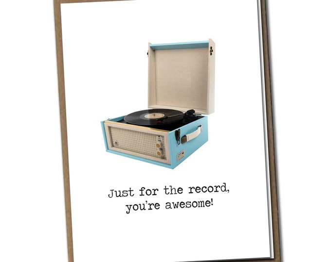 Just for the record, you're awesome! Classic Linen Series Greeting Card- Friendship Card