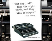 One day I will find the right words and they will be simple. Vintage Typewriter series. Blank Card