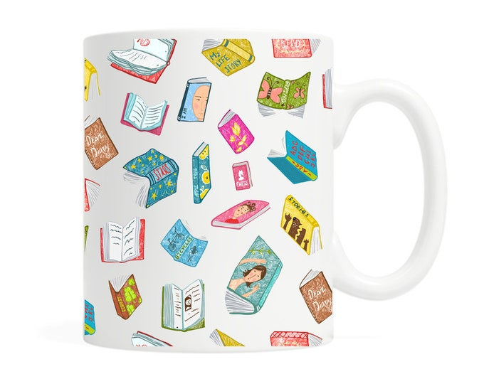 Floating Books - 11 ounce Ceramic Mug - Colorful - Bookish Gift- Book Lover - Reader - Reading - Librarian - Gift for Reader - Boxed Gift