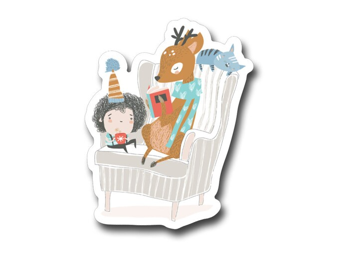 "Little Girl & Animal Friends Reading -3"" vinyl Sticker- Laptop Decal -Water Bottle Sticker -Book Lover Gift -Kids Sticker- Gifts for Readers"