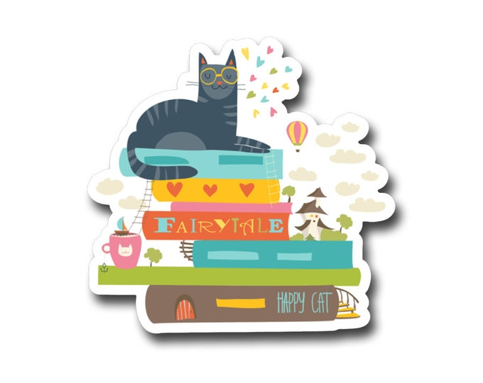 "Fairy tail Cat -3"" vinyl Sticker- Laptop Decal -Water Bottle Sticker -Book Lover Gift -Kids Sticker- Gifts for Readers"