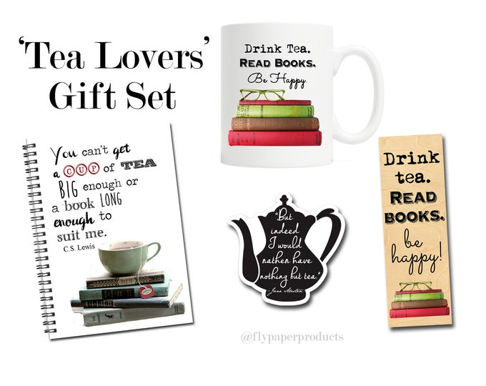 The Ultimate Tea Lovers Gift Set - Tea Drinker - Drink Tea Be Happy - Literary Gift Box - Tea Time- Jane Austen - C.S Lewis - Gift for tea
