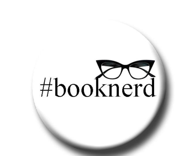 "Booknerd  - Pin Back Button - Reader Gift - Teacher Gift- Button Pin - Cute Button Pin - Literary - 1.25 "" - Book Lover Gift - Gift for Nerd"