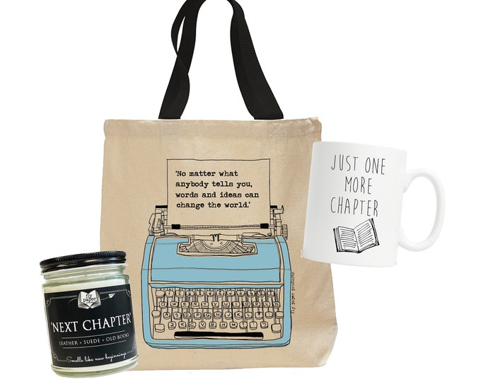 Next Chapter Bundle ! -Bookish gift -Reader Ceramic Mug -Coffee&Tea-Book lover Candle -Inspirational Tote-Gift for book lover - Teacher Gift