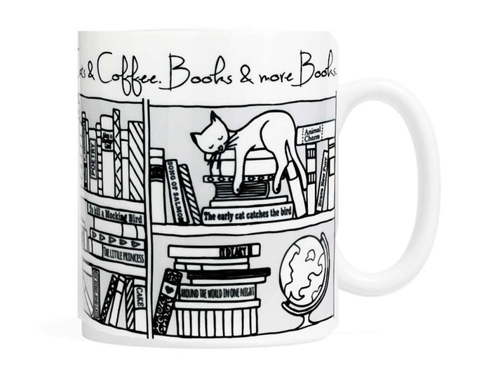 Cats, Coffee, Books and more books- 11 oz Coffee Mug