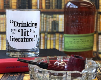 Sale! Drinking puts the 'lit' in literature - 13.5 Double Bourbon Rocks Glass