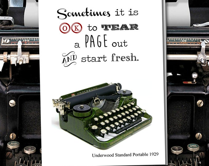 Sometimes it is OK to tear a page out and start fresh. Vintage Typewriter series. Blank Card
