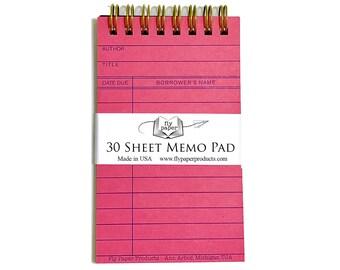 Pink Library Card Memo Pad