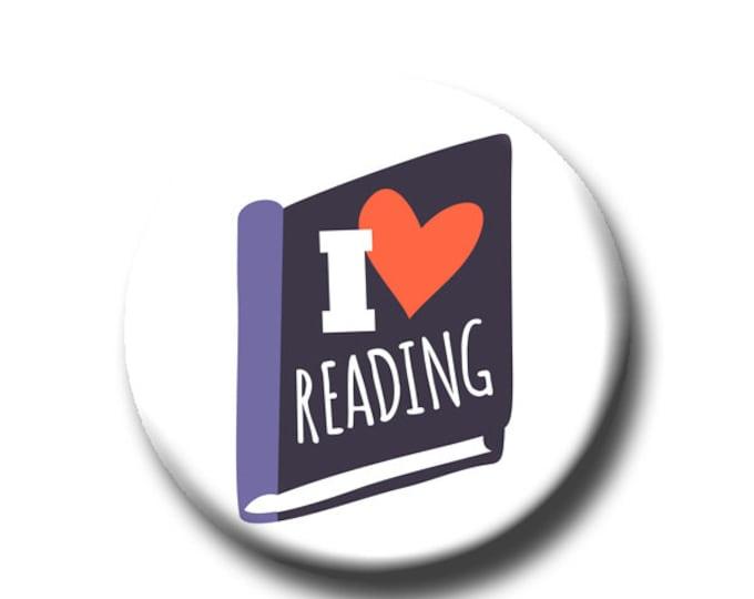 "I Heart Reading -Pin Back Button - Reader Gift - Teacher Gift- Button Pin - Cute Button Pin - Literary - 1.25 "" - Book Lover Gift"
